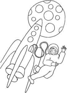 Космонавт вылез из ракеты