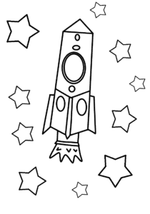 Ракета и красивые звезды