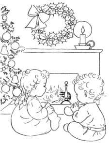 дети у камина на рождество