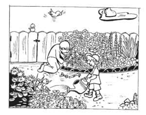 дети поливают цветы детская раскраска
