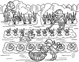 дети на огороде раскраска