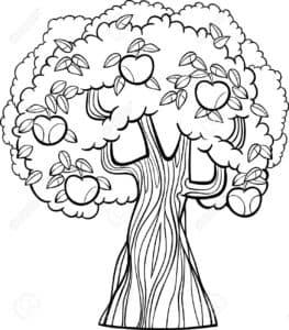 Дерево с яблоками раскраска детская