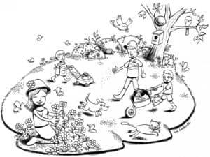 дети сажают цветы раскраска