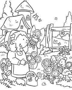 Бабушка и подсолнухи