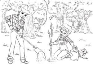 Мальчик с девочкой сажают деревья