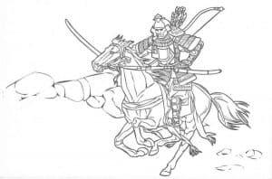 Два самурая на лошади раскраска