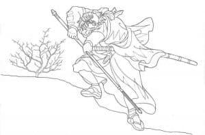 Красивый самурай раскраска