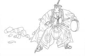 Раскраска для детей самурай