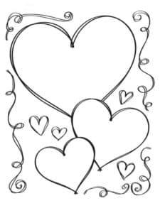 Сердечки раскраска