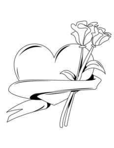 Сердце ленточка и цветы