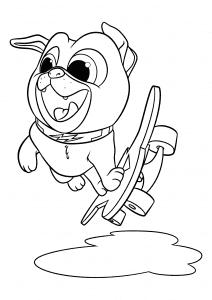 Собака на скейте раскраска