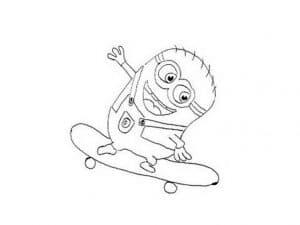 миньон на скейтборде