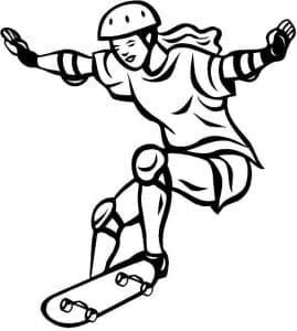 Женщина на скейтборде