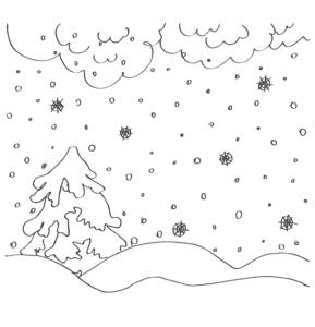 снег и елка