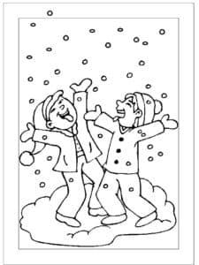 дети играют под снегом