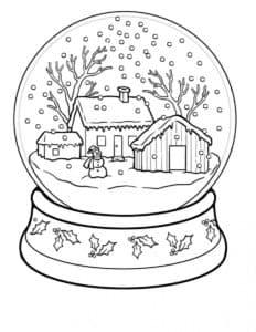 снег и дома в шаре
