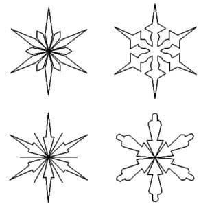 четыре снежинки