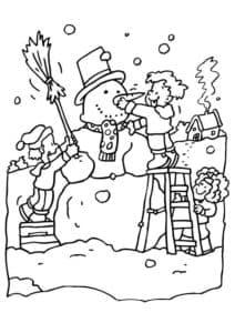 Дети слепили снеговика раскраска