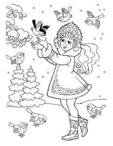 девочка с птичками раскраска