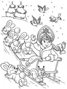 снегурочка и зайцы раскраска