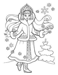 снегурочка и снежинки