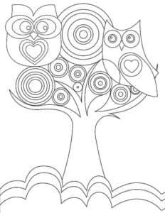 Совы и дерево с узорами