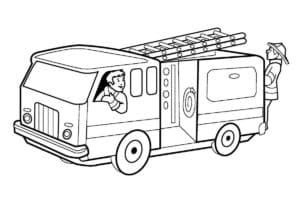 Пожарная машина и пожарники