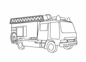 Пожарная машина с лестницей раскраска детская
