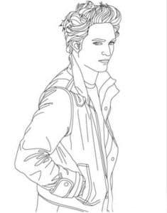 Эдвард в куртке раскраска