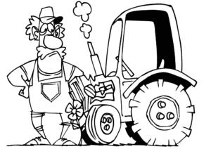 Трактор и тракторист с усами