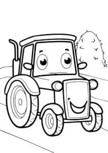 Трактор улыбается раскраска