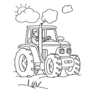 Трактор и облака с солнцем