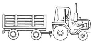 Трактор с деревянным прицепом
