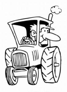 Тракторист с большим носом на тракторе