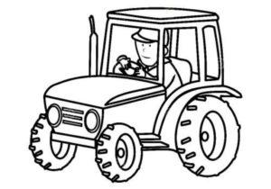 Тракторист в тракторе раскраска