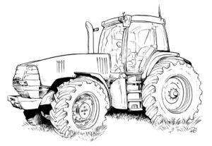 Трактор стоит на траве