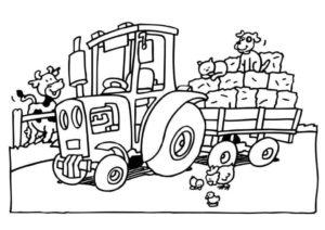 Трактор везет солому и кота с собакой