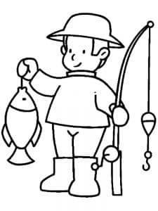 Мальчик с рыбкой в руке и удочкой