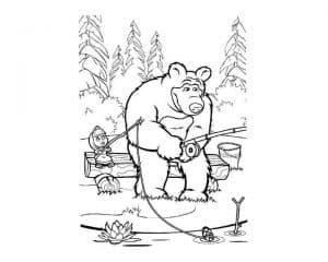 Маша и медведь с удочками раскраска детская