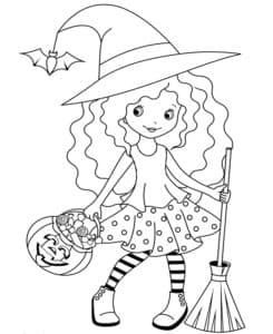 девочка ведьма с метлой и тыквой
