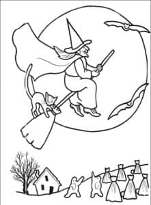 баба яга на метле и летучие мыши