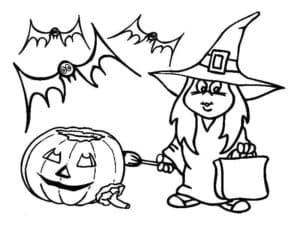 ведьма тыква и летучие мыши
