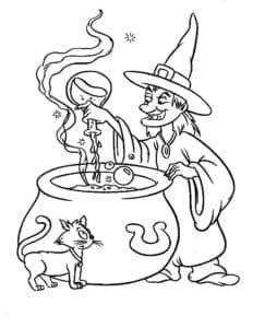 злая ведьма и котенок раскраска