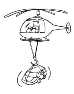 Вертолет летит с машиной