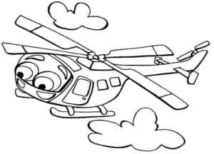 Вертолет летит среди облаков