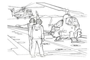 Пилоты и вертолет на взлетной полосе
