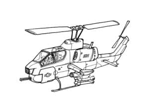 Вертолет военный с ракетами
