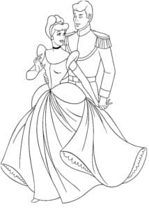 Принц обнимает золушку