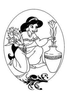 Принцесса кладет в вазу цветы
