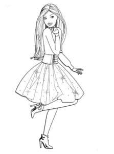 барби на каблуках в платье